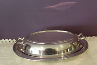 SILVER PLATED OVAL DIVIDED SERVING DISH WITH HANDLED  LID