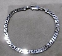 Dammen Herren Armband Silber 925 Panzakette flach 40mm 70er  20cm rar edel