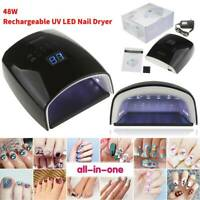 Black 48W Cordless Wireless Rechargeable LED/UV Nail Lamp Gel Polish Light Dryer