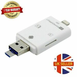 SD Card Reader Adapter, 3 in 1 i USB SD & TF External storage for iPhone Mobile
