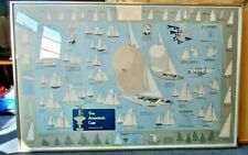 More details for americas cup 1974 large framed poster southern cross challenges courageous