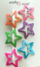 Girls 6 Glitter Star Shaped 2.5cm Sleepies Hair Clips Snap Clips Bling Sparkly