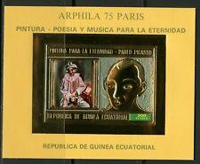 Guinea Equatoriale 1975 ARPHILA Paris , Pablo PICASSO Gold foil Mi Bloc A155 imp