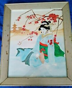 A BEAUTIFUL LARGE CHINESE WATERCOLOUR OF A GEISHA FRAMED UNDER GLASS