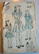 Vintage Advance Pattern #2650 Girl's Dress Size 12 Yoke Bodice Full Skirt Pocket