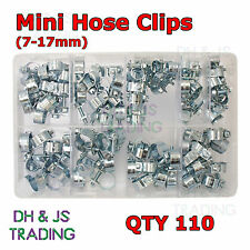 Assorted Box of Mini Hose Clips 7 - 17mm Qty 110 Clamps Jubilee Hose Clip Clamp