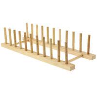 Beech Wood Wooden Long 10 Plates Plate Rack Stand Holder Drainer Kitchen