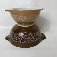 Vintage Pyrex Woodland Cinderella Nesting Bowls Set of 2 Brown Tan 441 442