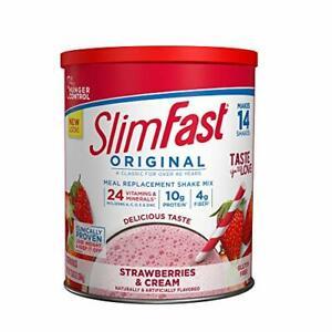 SlimFast Original Strawberries & Cream Meal Replacement Shake Mix – Weight Lo...