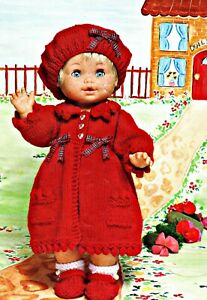 """Knitting Pattern DK Baby Dolls Clothes 12 - 22"""" Coat, Beret, Shoes and Socks"""