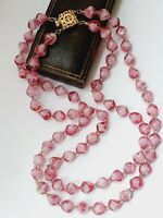 """Vintage 19"""" Pink Glass Double strand Beaded Choker Necklace"""