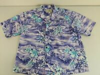 HO ALOHA Men's Short Sleeve Button Down Hawaiian Shirt Floral Purple White L