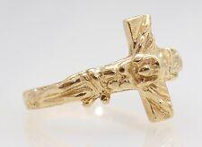 14k Yellow Gold Crucifixion Cross Ring