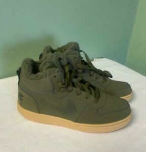 Nike Court Borough Mid Wntr AA3458-300 Olive Canvas Shoes Boots 4.5Y / Womens 6