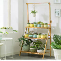 Bamboo Hanging Plant Stand Planter Shelves Flower Pot Organizer Storage Holder