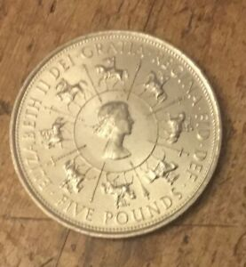 UK 1993 £5 Five Pound Coin Queen's Coronation 40th Anniversary Edition