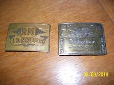 2 MENS VINTAGE BELT BUCKLES, BUDWEISER LAGER BEER & RM LACQUER & FREE SHIP
