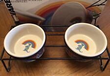 Signature Housewares Stone Ware  Rainbow Dog Bowl Set By Rivera Van Beers