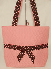 Belvah - PINK & Brown Quilted Baby Girl Diaper Bag - Polka Dot Trim *NICE