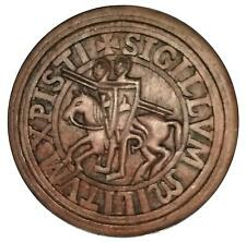 Ancient Seal of the Knights Templar, wood effect wall hanging plaque, masonic