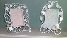 LOT 2 DHIPPY WHITE Metal Picture Frames TABLETOP WITH GLASS ROSE, LEAVES,HEARTS