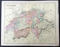 1870 William Mackenzie Original Antique Map of Switzerland