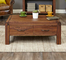 Inca walnut dark wood living room furniture four drawer storage coffee table