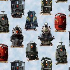 All Aboard Locomotive Railroad Trains Train Engine Blue Cotton Fabric Fat Quarte