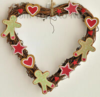 Gisela Graham Christmas Heart Star Gingerbread Man Wreath Chic Shabby Decoration
