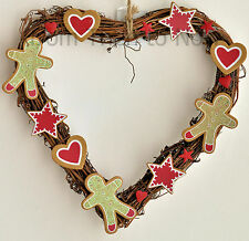 Gisela Graham Navidad Corazón Estrella Pan Jengibre Man CORONA Chic Shabby