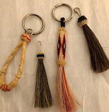 Vintage Real Horsehair Western Keychain, Multi Colors , Cowboy Rugged, w/Rawhide