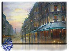 LARGE Wall Art Canvas Print IMMAGINE DI CAFE DE PARIS incorniciato