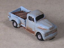 HO 1948 Light Blue Rusted Out Ford Pickup with firewood load