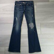 True Religion Womens Disco Billy Big T Flare Leg Jeans Size 27 Dark Wash Denim