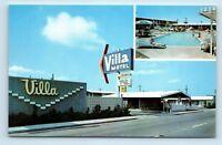 Fresno, CA - VILLA MOTEL POOL & OLD CARS - VTG MULTIVIEW Roadside Postcard - W