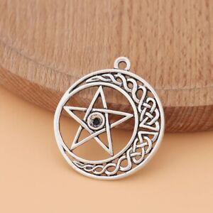 10 x Tibetan Silver Tone Celtic Knot Pentagram Pentacle Charms Pendants 34x30mm