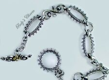 "Barbara Bixby Bold Swirl Link Toggle Sterling 18K Gold Bracelet 7-1/4"""