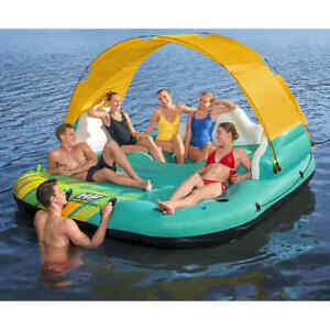 Bestway Badeinsel Aufblasbar 5 Personen Schwimmliege Wasserliege Luftmatratze