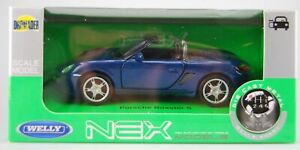 WELLY PORSCHE BOXSTER S BLUE CONVERTIBLE 1:34 DIE CAST METAL MODEL NEW IN BOX