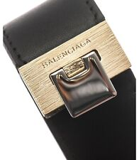 Balenciaga leather cuff bracelet black leather Gold coloured thick plate-New