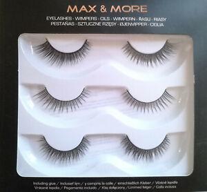 False EyeLashes Max & More 3 pairs + glue New Boxed