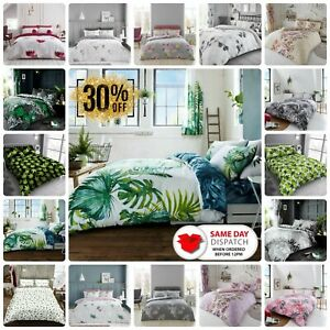 Luxury Duvet Cover Set Tropical Palm Weed Leaf Quilt Reversible Bedding All Size