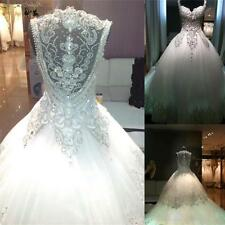 Sweetheart Wedding Dress Beaded Crystal Bridal Gown Custom Size:2 4 6 8 10 12+++