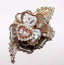 HTF Vintage HOBE Mayorka SAPHIRET Rhinestone Heart Art Glass Brooch Pendant