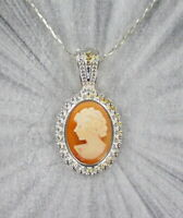 VINTAGE HAND CARVED SHELL CAMEO PENDANT NECKLACE  in STERLING SILVER