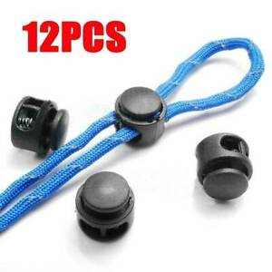 12 Black Paracord Cord Lock Clamp 2 Hole Toggle Clip Stoppers Accessories Set.