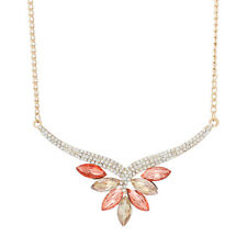 edles Collier Kette Strass gold apricot chmapagner NEU
