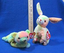Ty Beanie Babies Stuffed Animal Zodiac Rabbit Rainbow Bunny & Sammy Teddy Bear