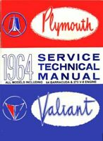 1964 Plymouth Belvedere Fury Savoy Valiant Shop Service Repair Manual Book Guide