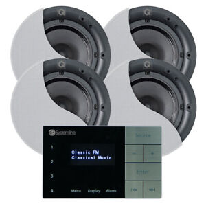 Systemline E100 FM DAB Radio and Bluetooth System with Qi65CB Ceiling Speakers